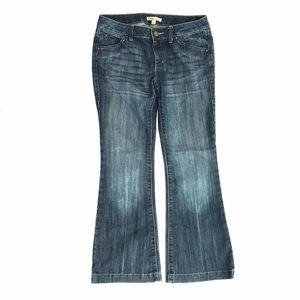 Cabi #881R Flare Distressed Wash Denim Jeans 6